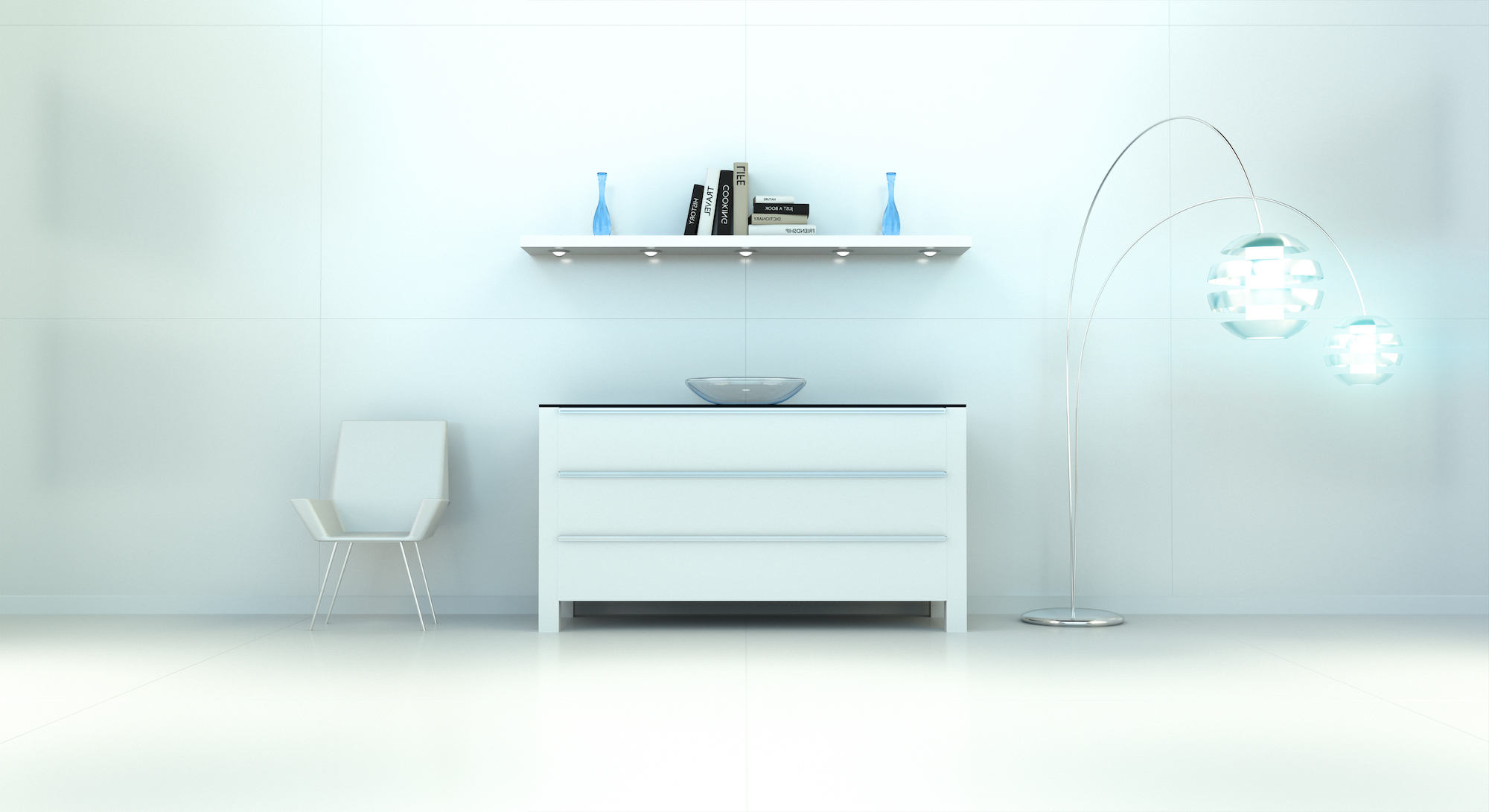 Modern white blue interior with chest of drawers and shelve 3D rendering